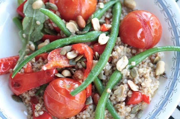 Gröna bönor, matkorn, tomater och paprika.